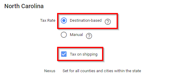 example of setting up tax rate that's destination based
