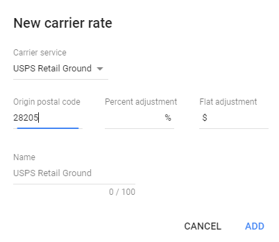 example of how to set up new carrier rate